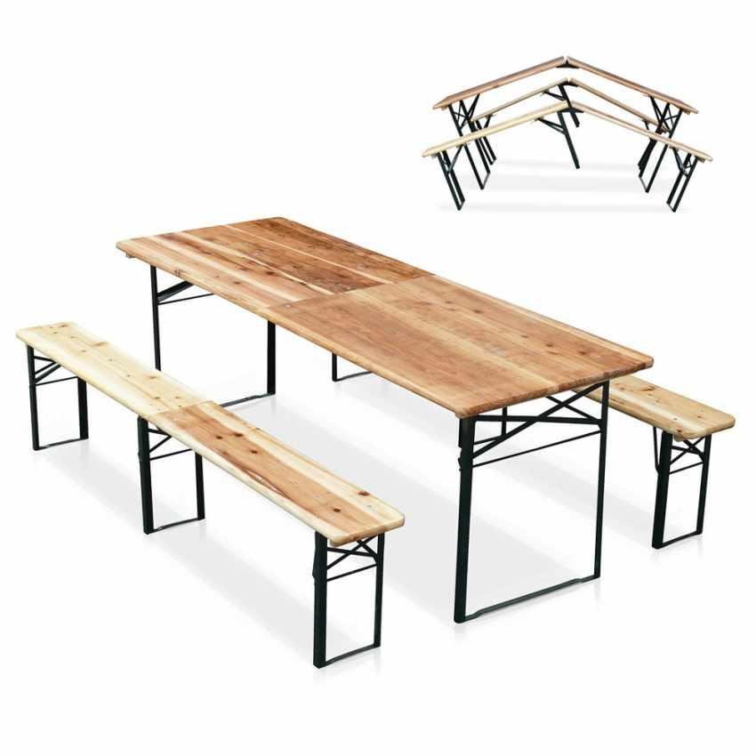 Conjunto plegable mesa y bancos de madera para eventos y for Bancos de jardin carrefour