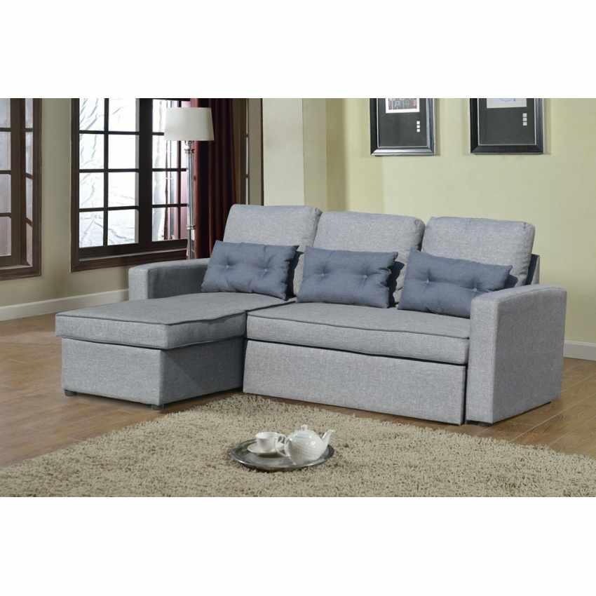 Sof cama de esquina con chaise longue 3 plazas cojines para sala de estar smeraldo - Sofa cama esquina ...