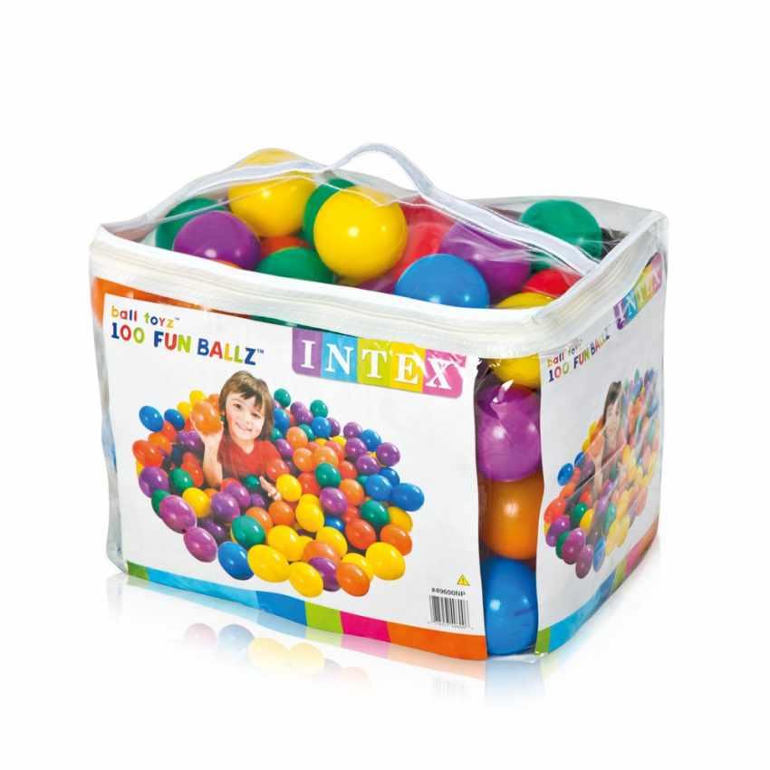 Bolas de colores de plástico juego Intex 49600 Fun Ballz 8 cm set 100 unidades - foto