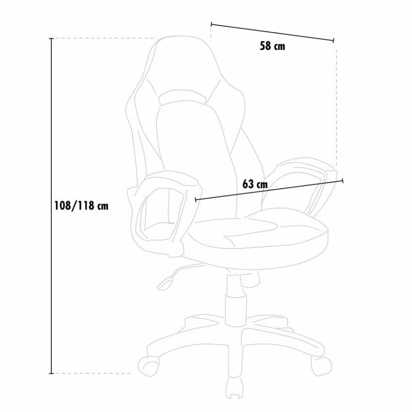 SU001RAC - Silla de oficina deportiva sillòn gaming comoda ergonomica PRO - beige