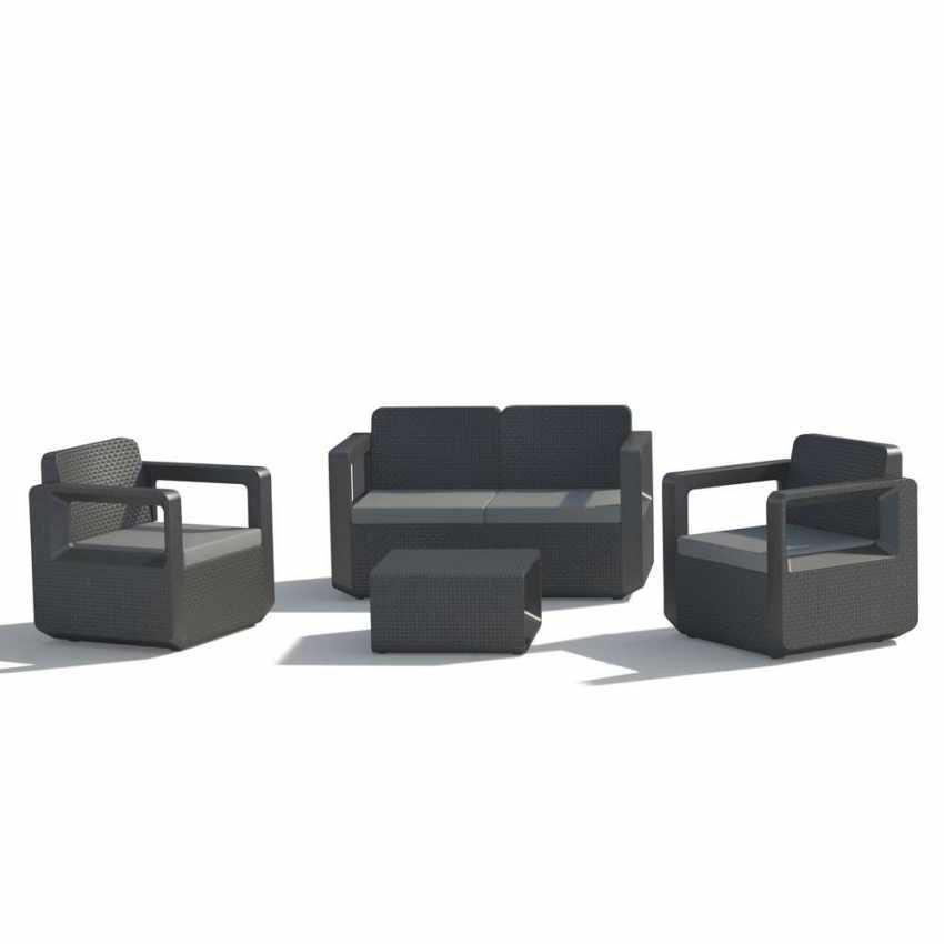 Conjunto de muebles de jardín poliratán respaldo realzado 4 plazas ...