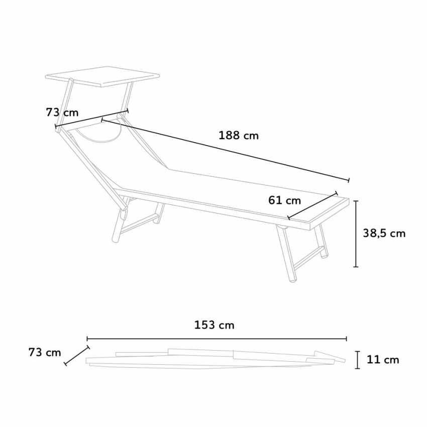 2 Tumbonas de playa aluminio parasol piscina SANTORINI Limited - migliore